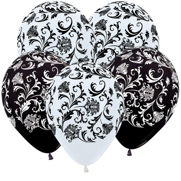 Дамаск (Белый, Черный) Пастель, 30 см / 50 шт / Колумбия