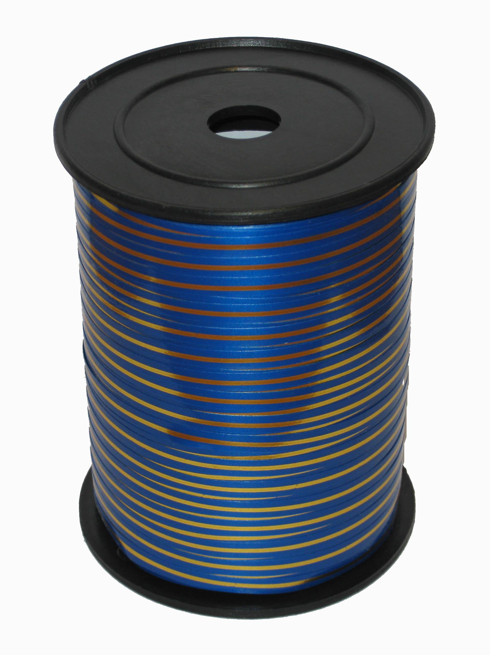 Лента с Золотой полоской Синяя, бобина 0,5 см / 250 м, Россия