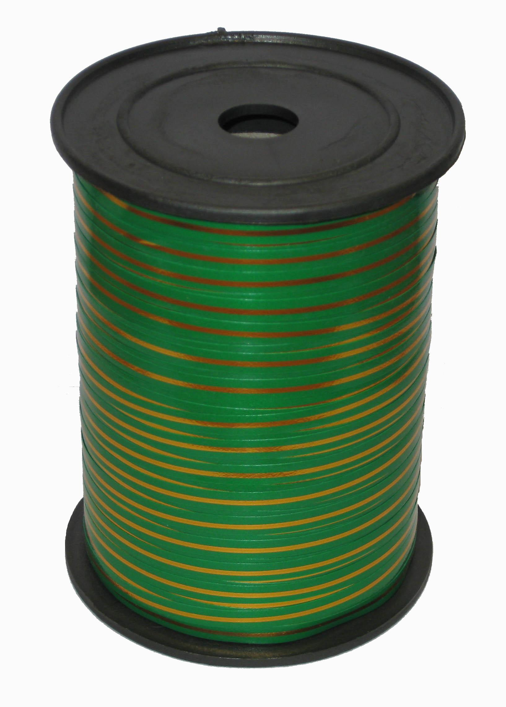 Лента с Золотой полоской Зеленая, бобина 0,5 см / 250 м, Россия