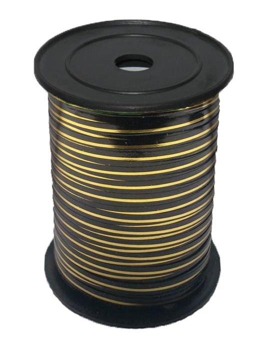 Лента с Золотой полоской Черная, бобина 0,5 см / 250 м, Россия