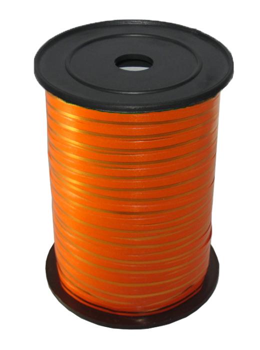 Лента с Золотой полоской Оранжевая, бобина 0,5 см / 250 м, Россия