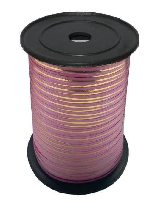 Лента с Золотой полоской Ярко-Розовая, бобина 0,5 см / 250 м, Россия