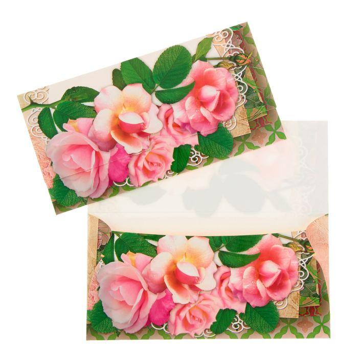 Конверт для денег универсальный, розы 9,5х18см