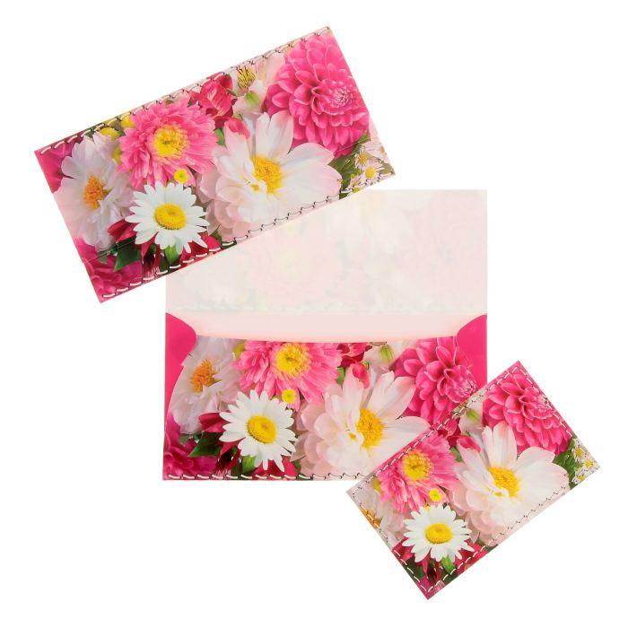 Конверт для денег универсальный, цветы 8,5х16,5см
