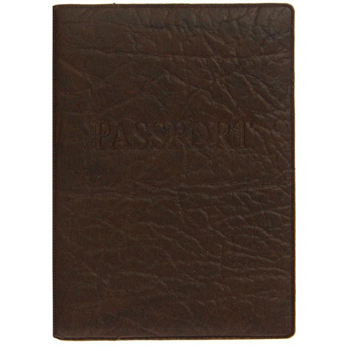 Обложка для паспорта 19,2*13,4 см, тиснение, коричневая
