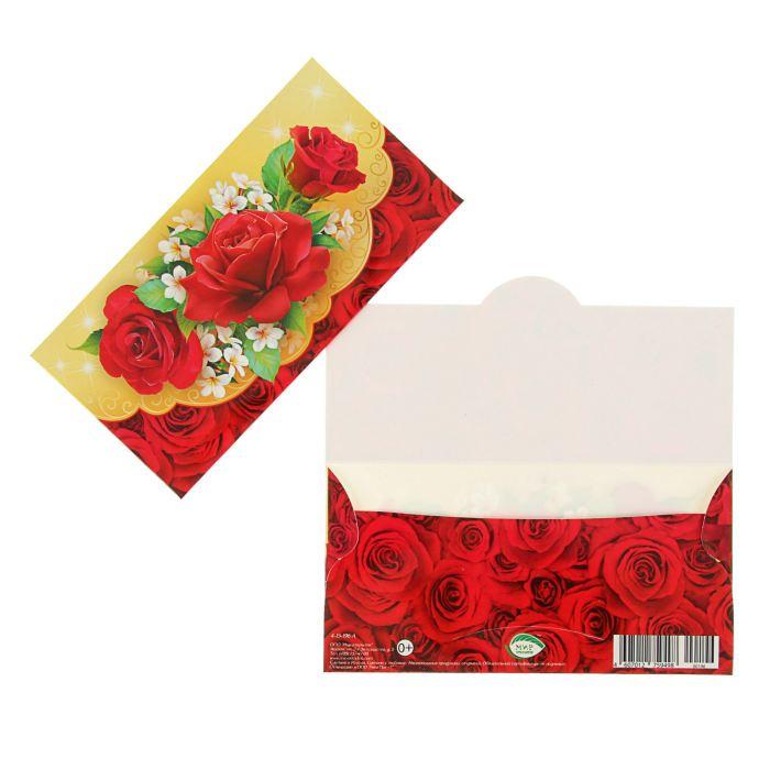 Конверт для денег универсальный; красные розы