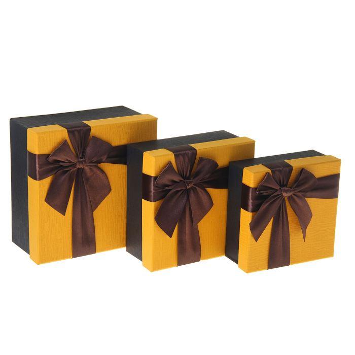 Коробка, коричневый бант на жёлтом фоне, маленькая коробка 15*15*6,5 см