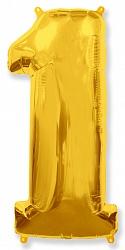 Шар цифра 1 цвет золото из фольги (высота 102 см), Испания