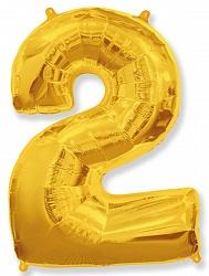 Шар цифра 2 цвет золото из фольги (высота 102 см), Испания
