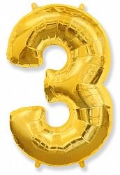 Шар цифра 3 цвет золото из фольги (высота 102 см), Испания