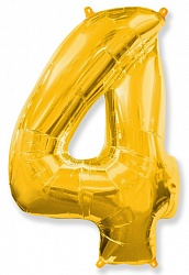 Шар цифра 4 цвет золото из фольги (высота 102 см), Испания