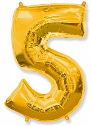 Шар цифра 5 цвет золото из фольги (высота 102 см), Испания