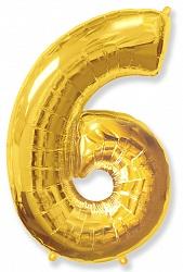 Шар цифра 6 цвет золото из фольги (высота 102 см), Испания