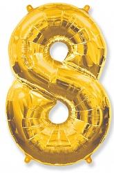 Шар цифра 8 цвет золото из фольги (высота 102 см), Испания