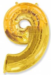 Шар цифра 9 цвет золото из фольги (высота 102 см), Испания