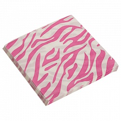Салфетки, Окрас зебры, розовый, 32х32см, 20шт, Китай