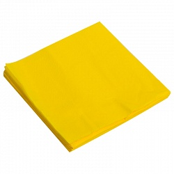 Салфетки однотонные, желтый, 32х32см, 20шт, Китай