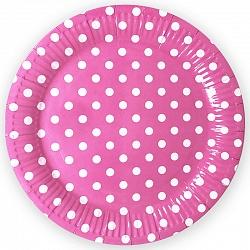 Тарелки розовые, Точки, 18 см, 6шт