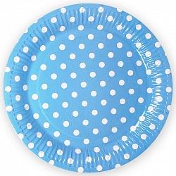 Тарелки голубые, Точки, 18 см, 6шт