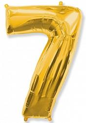 Шар цифра 7 цвет золото из фольги (высота 102 см), Испания