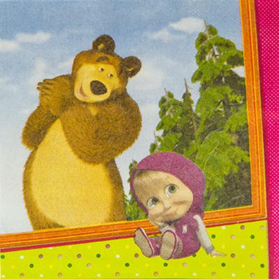 Салфетки Маша и Медведь, 12 штук в упаковке, размер 25*25 см