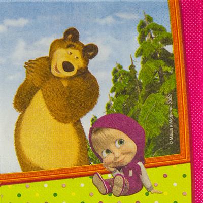 Салфетки Маша и Медведь, 12 штук в упаковке, размером 33*33 см