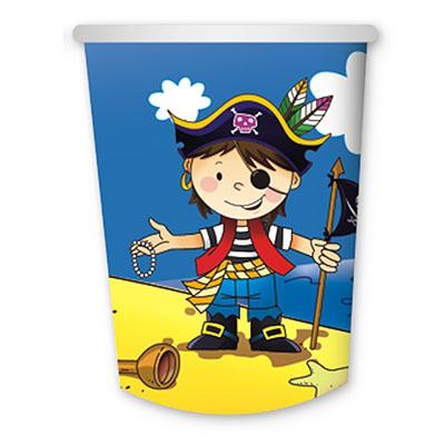 Стаканы бумажные Маленький пират, 6 штук в упаковке, объем 250 мл