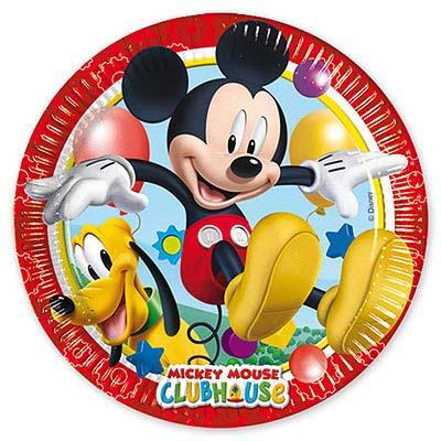 Тарелки Микки Игривый, 8 штук в упаковке, диаметр 20 см