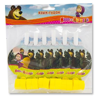 Язык-гудок Маша и Медведь, 6 штук в упаковке