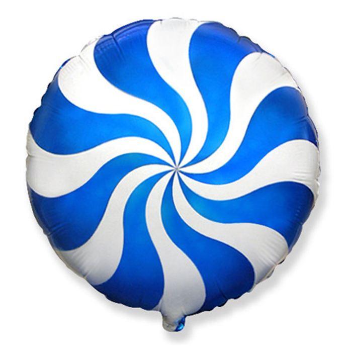 Шар фольгированный Круг Конфета Голубая, 23 см