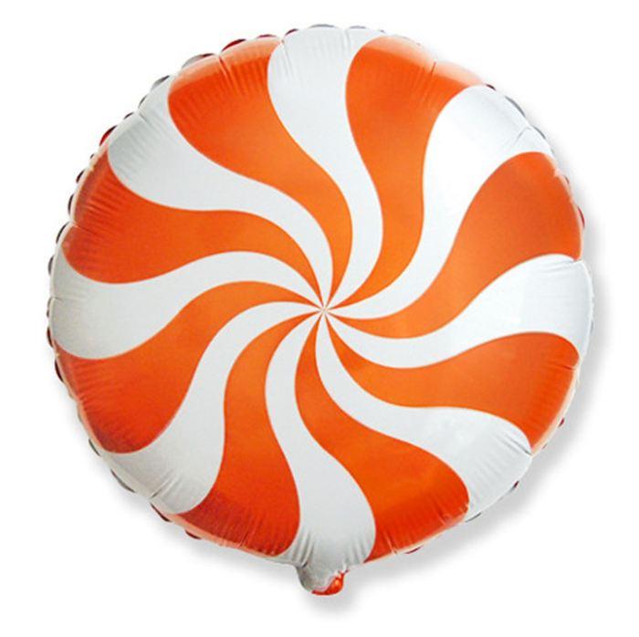 Шар фольгированный Круг Конфета Оранжевая, 23 см