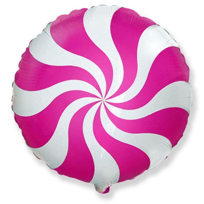 Шар фольгированный Круг Конфета Розовая, 23 см