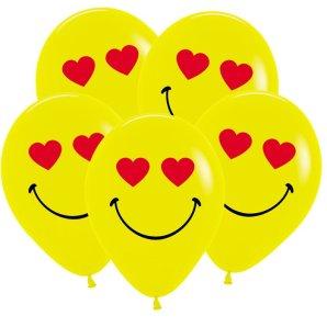 Смайл влюбленный, Желтый Пастель, 30 см, 2 сторонняя печать / 50 шт / Колумбия