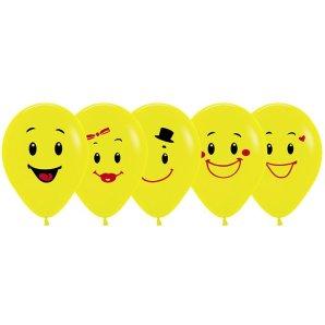 Ассорти смайлов (5 дизайнов), Желтый Пастель, 30 см/ 1 сторонняя печать / 50 шт / Колумбия