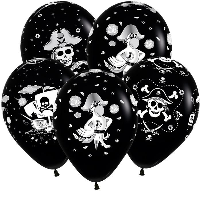 Пиратский стиль, Черный Пастель, 5 сторонняя печать (4 дизайна), 30 см / 50 шт / Колумбия
