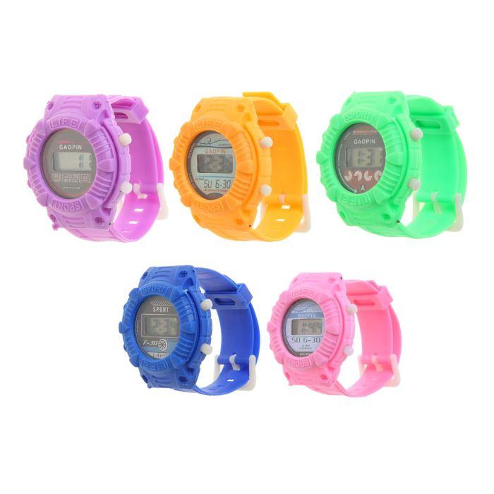 Часы наручные электронные «Сочные цвета», детские, с силиконовым ремешком l=22 см, цвета микс