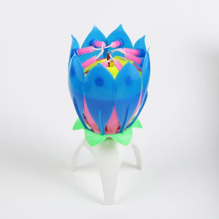 Свеча-цветок д/торта музыкальная 12 х 5 см, синий