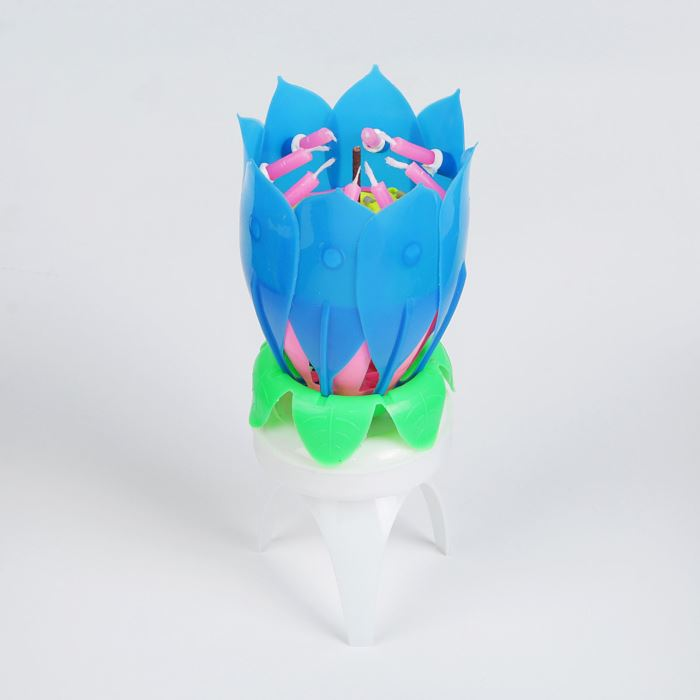 Свеча-цветок д/торта, вращается музыкальная 14х5см, синяя