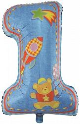 Шар (86 см) Цифра, Первый день рождения, Мальчик, Голубой