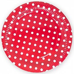 Тарелки красные, Точки, диаметр 23 см, набор 6шт