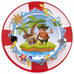 Тарелки Пираты, диаметр 18 см, набор 6шт