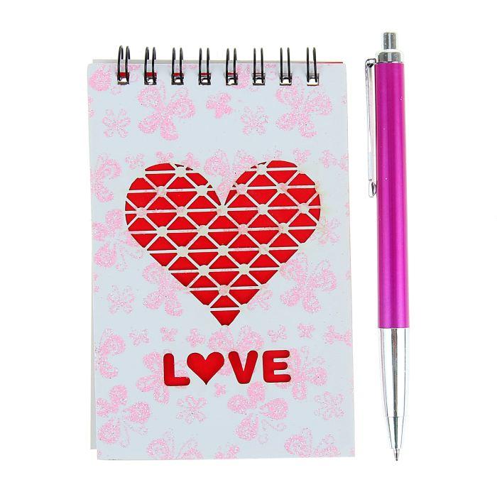 Блокнот А6 30л лин на гребне с ручкой в пластиковой коробочке МИКС Сердечко