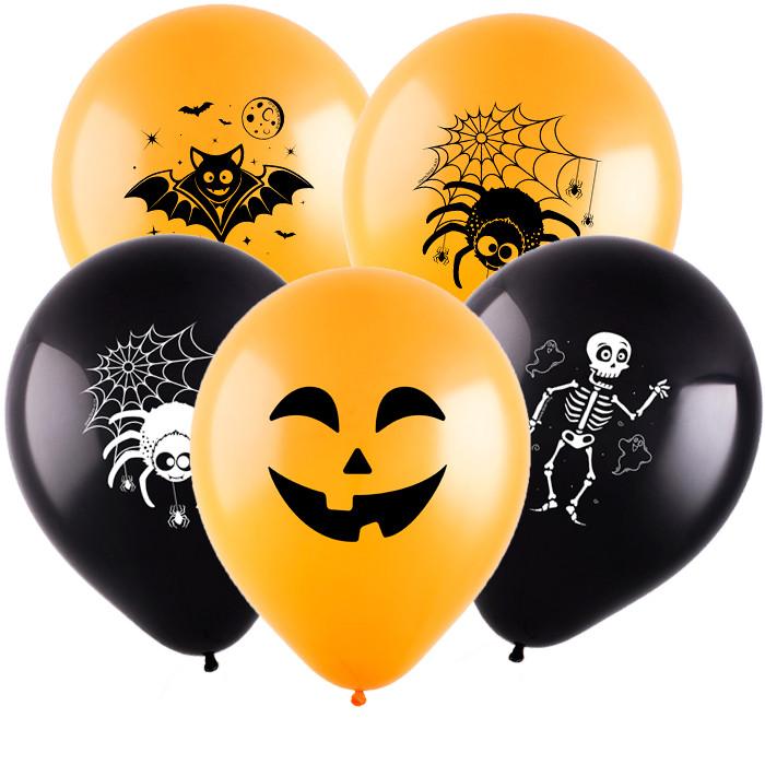 Хэллоуин (4 дизайна), Ассорти Пастель, 30 см, 2 сторонняя печать, 100 шт, ВЕСЕЛУХА