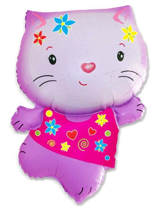 Котёнок (розовый с цветами), 79*53 см