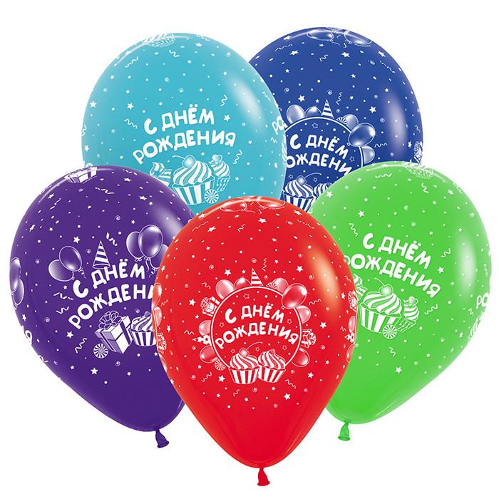 С Днем рождения Сладости, Ассорти Пастель, 5 сторон.печать (3 дизайна, 8цветов), 30см, 50шт/Колумбия