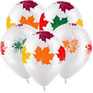 Осенние листья Разноцветные (2 дизайна), Прозрачный Кристал 5 сторонняя печать, 30 см/100 шт, Турция
