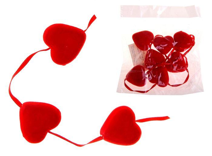 Сердце сувенирное гирлянда бархат из сердец