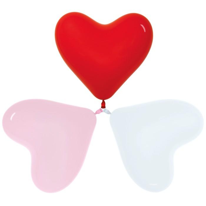 Сердце Ассорти, Пастель, 30 см / 100 шт / Колумбия