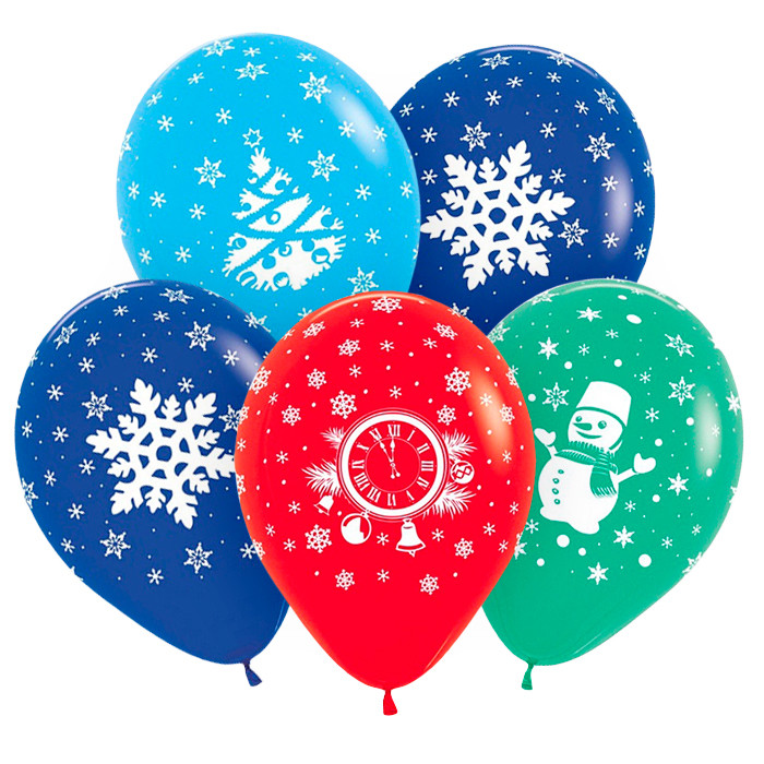 Новый год Ассорти, Ассорти Пастель, 5 стороння печать, 4 цвета, 4 дизайна, 30 см / 50 шт