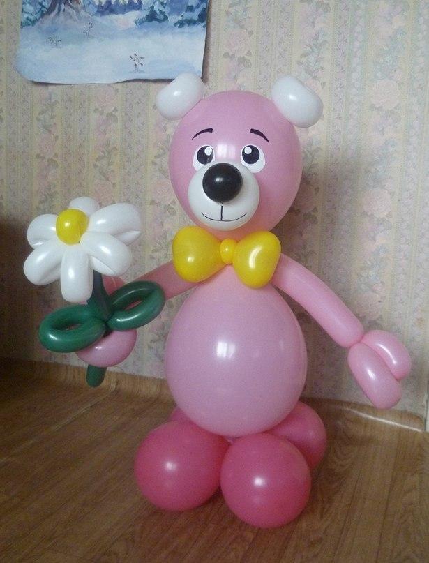 Мишка розовый с цветочком